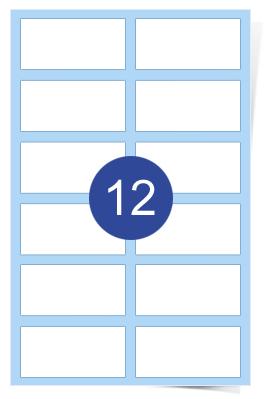 A4 Laser Sheets - 12 Label Per Sheet - 500 Sheets Per Box
