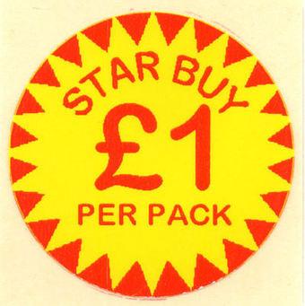 Circular 'Star Buy £1 Per Pack' Promotional Labels - 1000 Labels