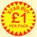 Circular 'Star Buy £1 Per Pack' Promotional Labels - 1000 Labels