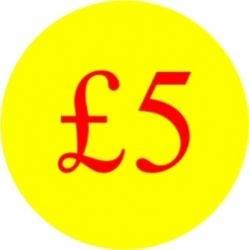 Circular '£5' Promotional Labels - 1000 Labels