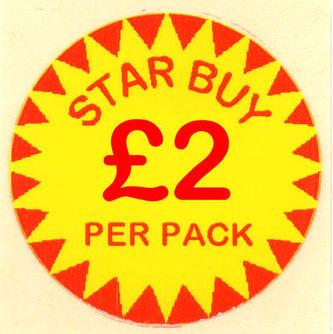 Circular 'Star Buy £2 Per Pack' Promotional Labels - 1000 Labels