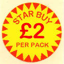 Circular 'Star Buy £2 Per Pack' Promotional Labels - 1000 Labels