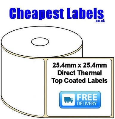 25.4x25.4mm Direct Thermal Top Coated Labels (50,000 Labels)