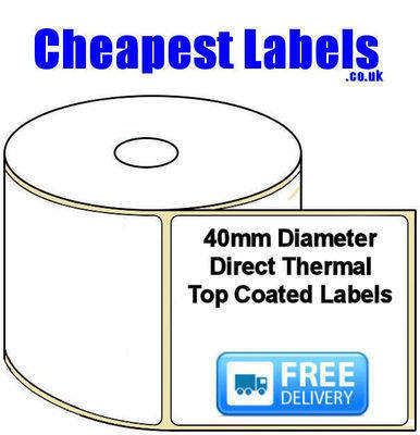 40mm Diameter Direct Thermal Top Coated Labels (10,000 Labels)
