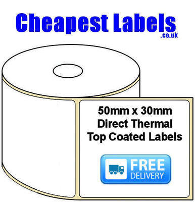 50x30mm Direct Thermal Top Coated Labels (50,000 Labels)