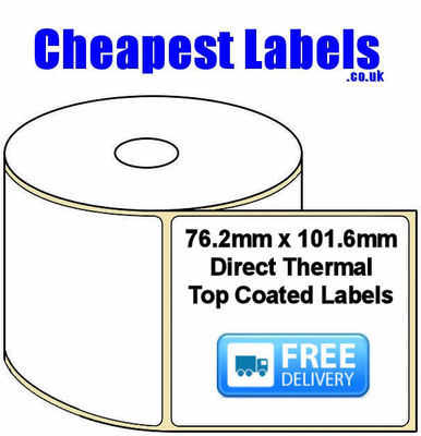 76.2x101.6mm Direct Thermal Top Coated Labels (5,000 Labels)