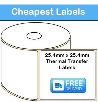 25.4mm x 25.4mm Thermal Transfer Labels (50,000 Labels)