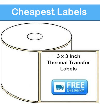 3 x 3 Inch Thermal Transfer Labels (10,000 Labels)