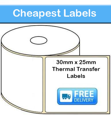 30mm x 25mm Thermal Transfer Labels 50,000 Labels)
