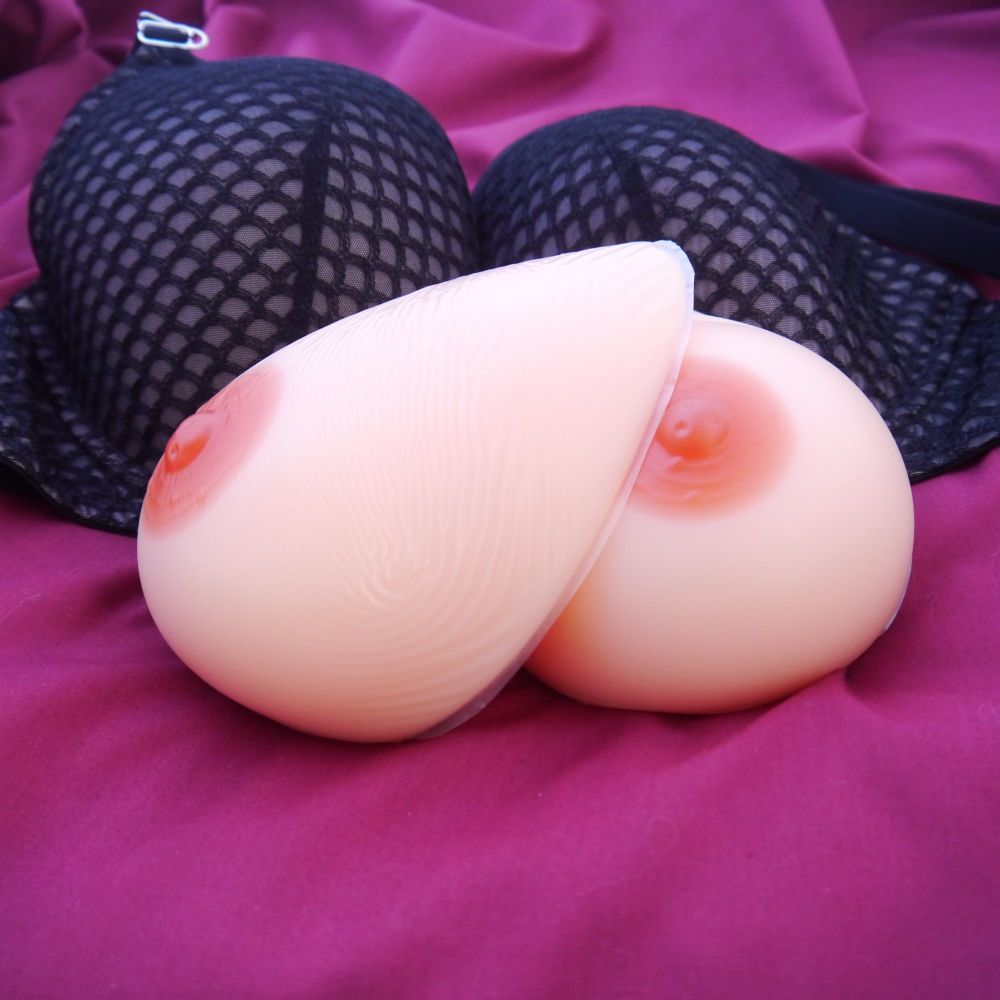 Teardrop Style 1 False Breasts: Silicone Breast Form Prostheses - 600g Each