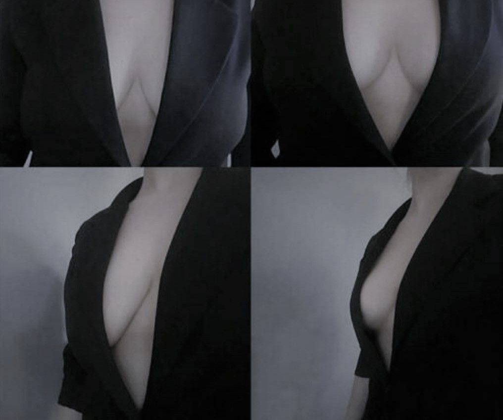before after boob tape b&w