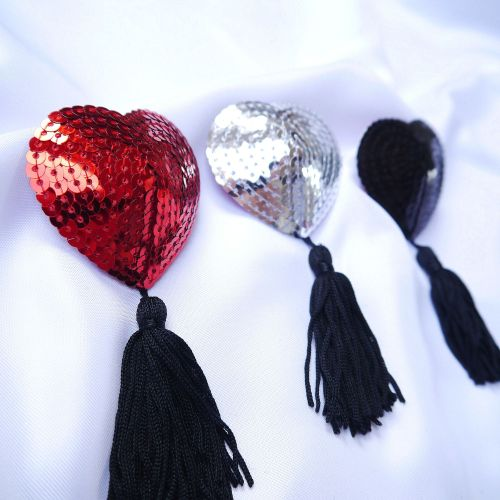 Sexy And Fun - Heart Sequin Nipple Covers With Tassels