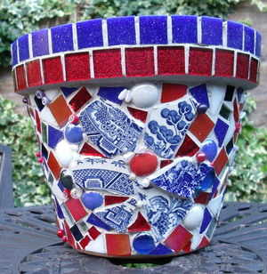 red and blue pot - flower