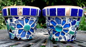matching blue pots