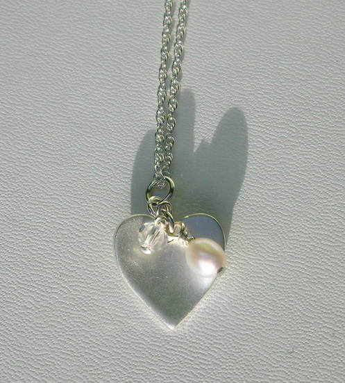 Fine Silver Heart Necklace with Freshwater Pearl & Crystal bead      £25