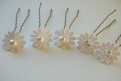 Daisy Hair Pins - Set of 5