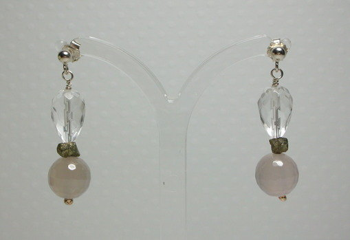 Sterling Silver White Quartz & Grey Agate Earrings