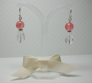 Cherry and Clear Quartz Earrings