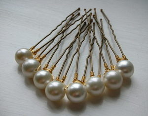 Cream Pearl Hair Pins - Set of 8