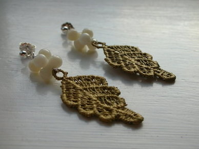 Gold Lace Leaf & Ivory Coral Earrings