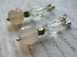 White Quartz, Grey Agate & Pyrite Earrings