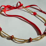 Hair Vine - Gold & Red (can be work with ribbon as a necklace) £16
