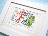 Personalised watercolour initial painting TWO initials  8 by 6