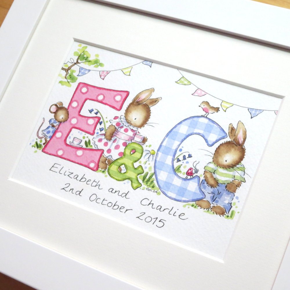 <!--060-->Personalised watercolour initial painting TWO initials 10 by 8