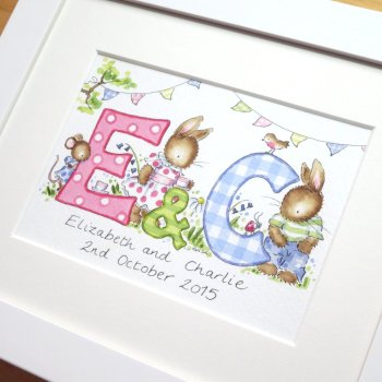 Personalised watercolour initial painting TWO initials 10 by 8