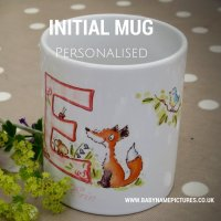 Childrens ceramic initial mug