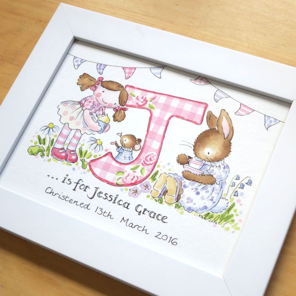 Personalised watercolour initial painting 6 by 8 inch