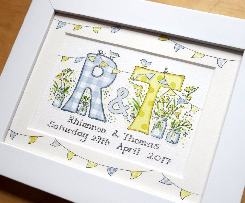 <!--060-->Personalised watercolour initial wedding painting TWO initials  8