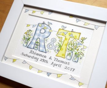 Personalised watercolour initial wedding painting TWO initials  8 by 6