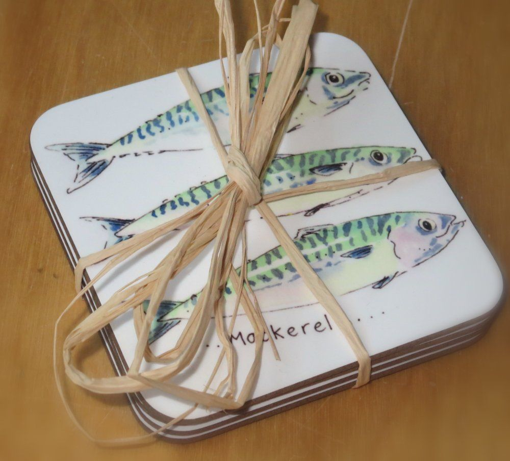 Set of 4 mackerel coasters