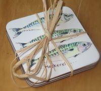Set of 4 mackerel coasters