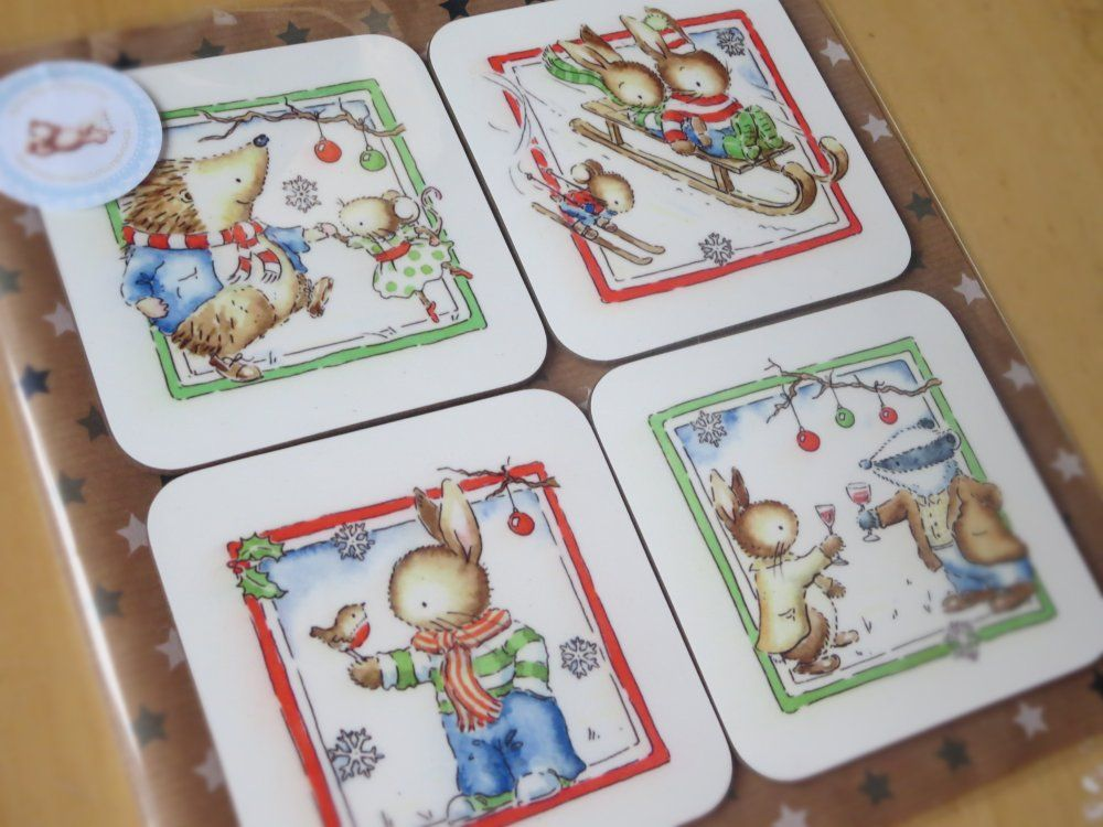 Set of 4 Christmas woodland animals coasters