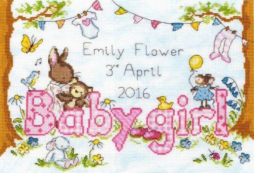 Bunny love -girl cross stitch kit