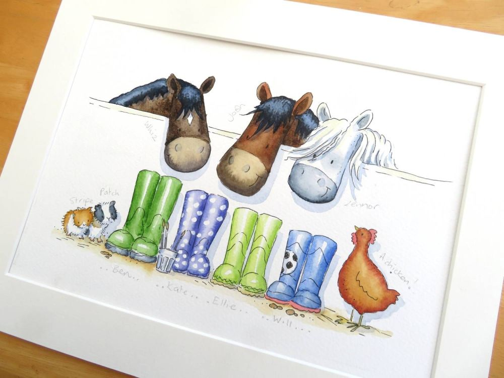 Wellies family portrait with pets