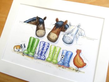 Wellies family portrait with pets  - UNFRAMED
