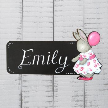 Cut out bunny blackboard door plaque