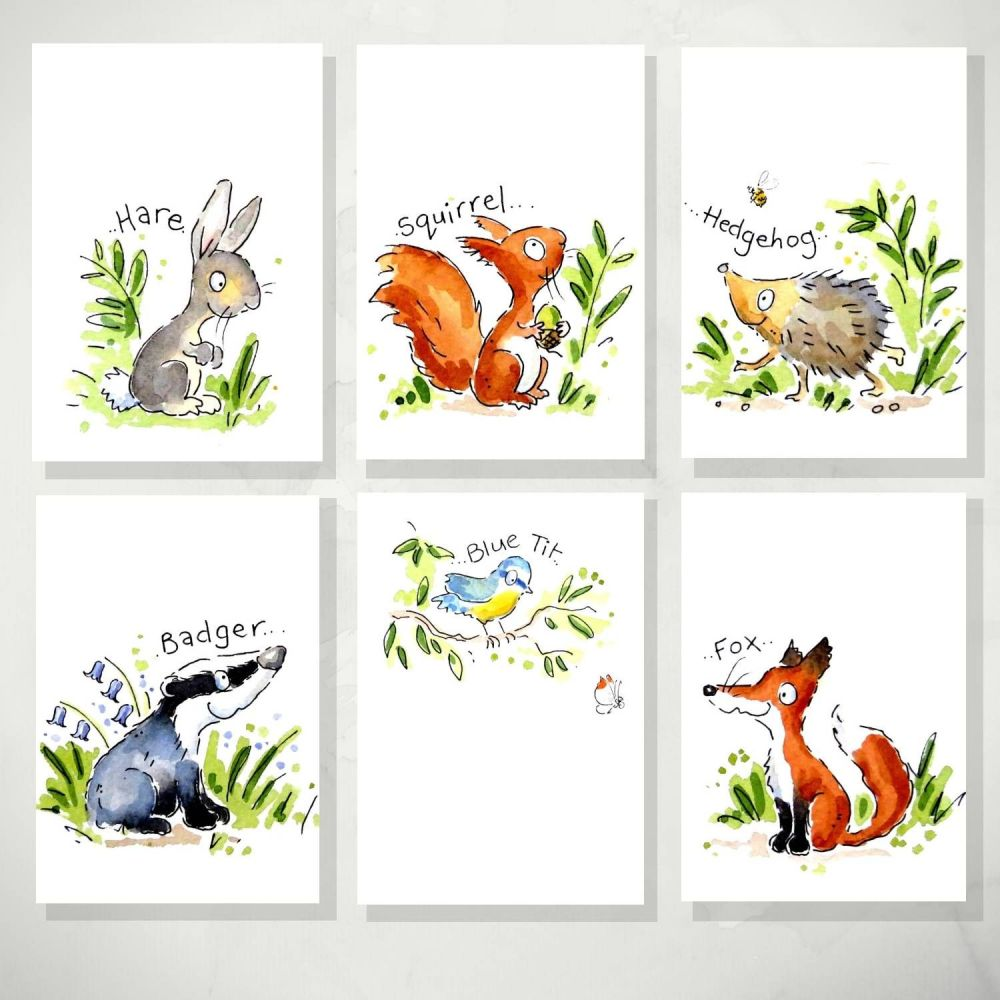 Woodland animals nursery print decor set of 6 A4