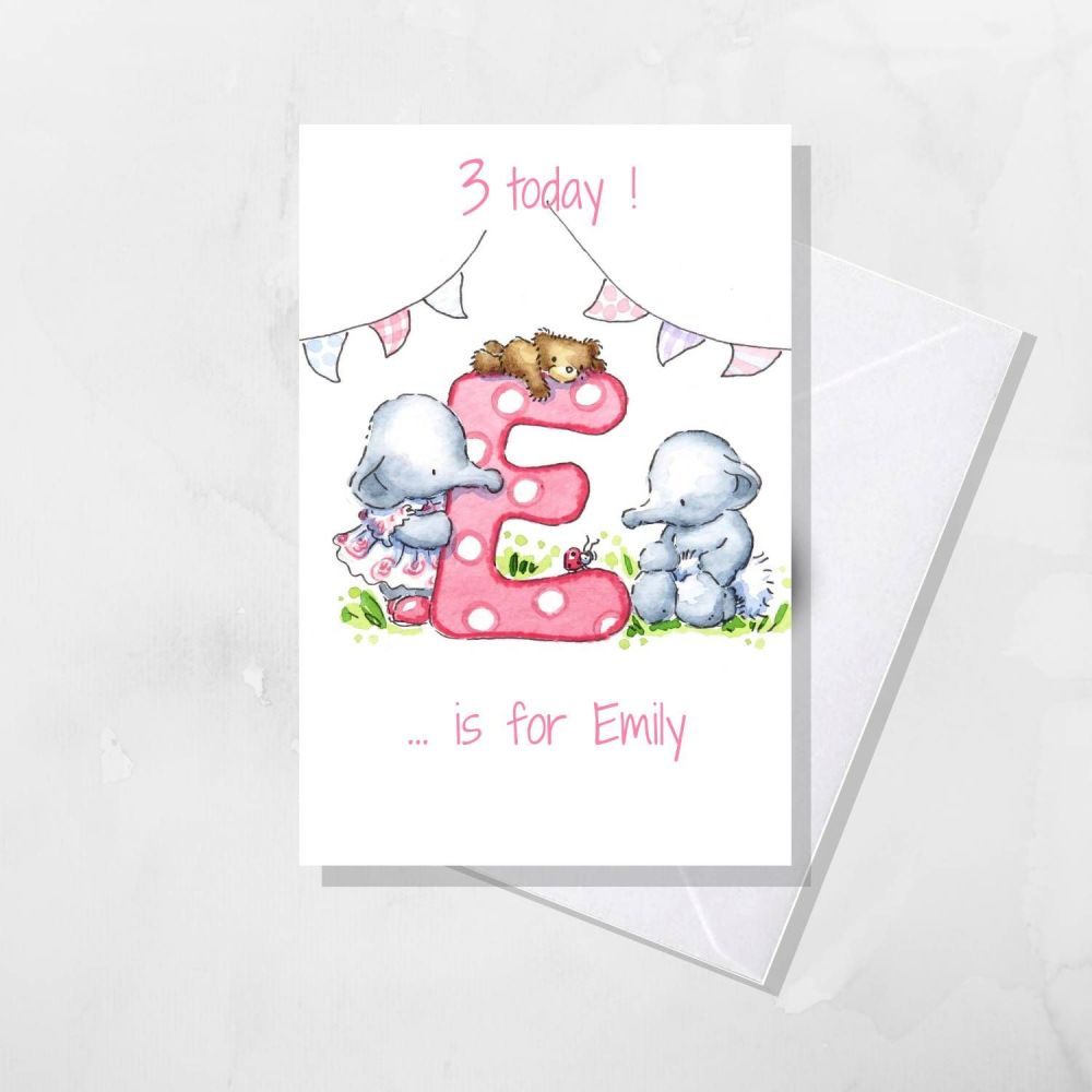 Personalised Initial Birthday card with age