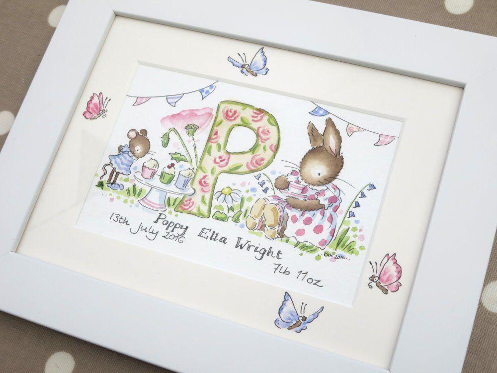P for Poppy framed