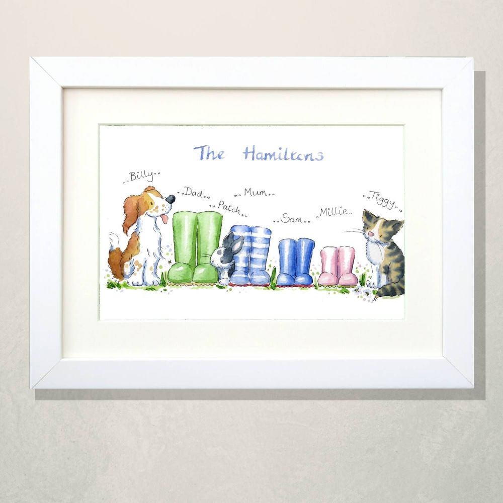 <!--005-->Wellies family portrait with pets - FRAMED
