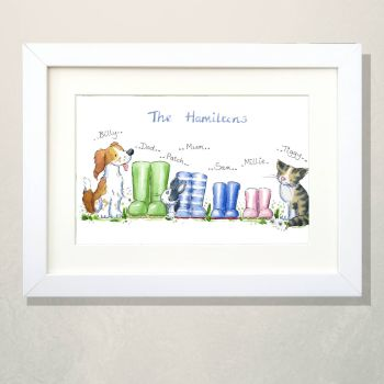 Wellies family portrait with pets - FRAMED