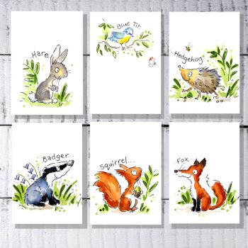 Woodland animals nursery print decor set of 6  A5