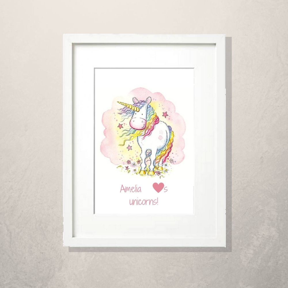 Unicorn nursery print decor personalised