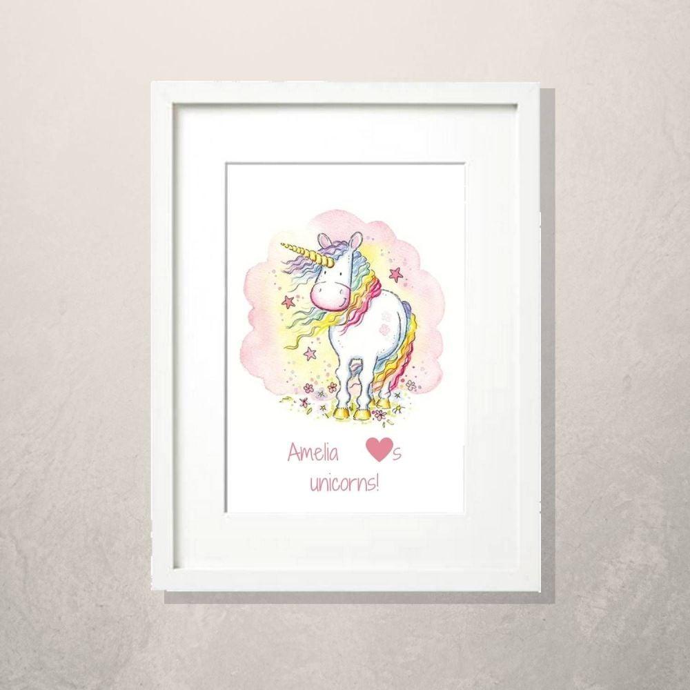 Unicorn nursery print decor personalised