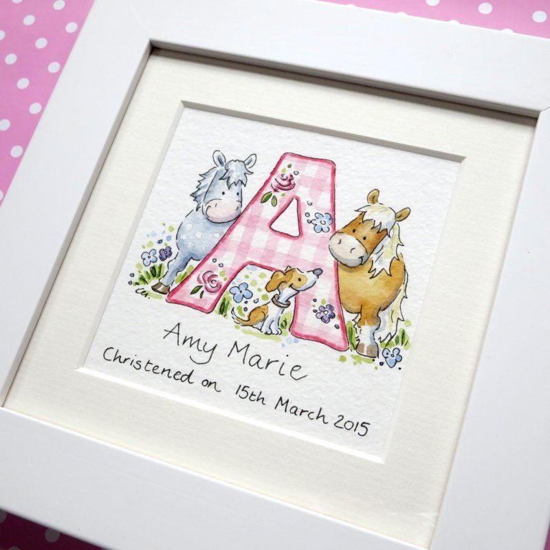<!--010-->Personalised girl watercolour initial painting