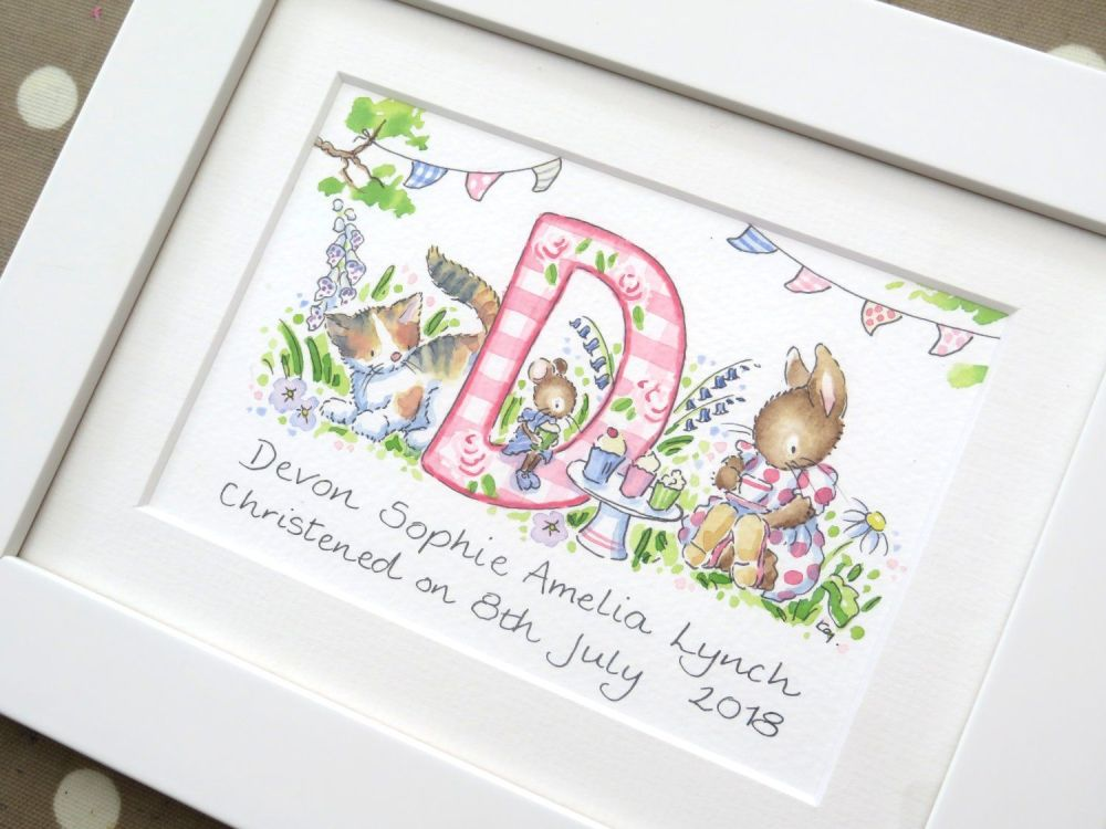 <!--025-->Personalised girl watercolour initial painting 6 by 8 inch